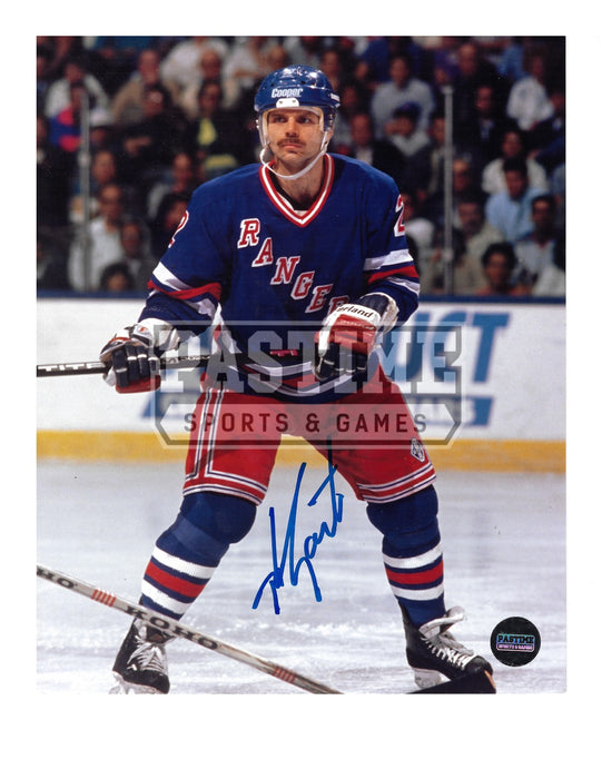 Mike Gartner Autographed 8X10 New York Rangers Home Jersey (In Position) - Pastime Sports & Games