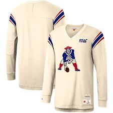 New England Patriots Football Inspired Long Sleeve Sweater (White M&N) - Pastime Sports & Games