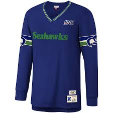 Seattle Seahawks Football Inspired Long Sleeve Sweater (Blue M&N) - Pastime Sports & Games