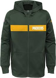 Green Bay Packers Football Therma Full Zip Hoodie (Green Nike) - Pastime Sports & Games