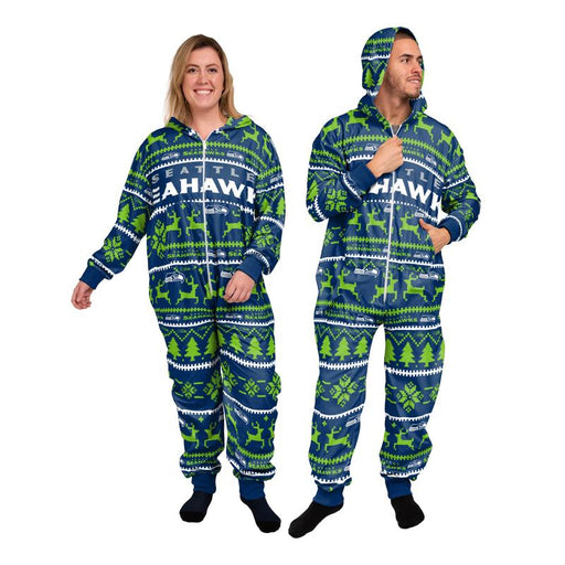 Seattle Seahawks Football Full Length Onesie With Hood (Green FOCO) - Pastime Sports & Games
