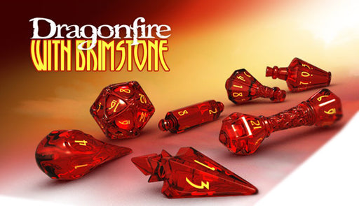 Polyhero 7pc Wizard RPG Dice Set Dragonfire with Brimstone - Pastime Sports & Games