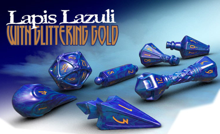 Polyhero 7pc Wizard RPG Dice Set Lapis Lazuli with Glittering Gold - Pastime Sports & Games