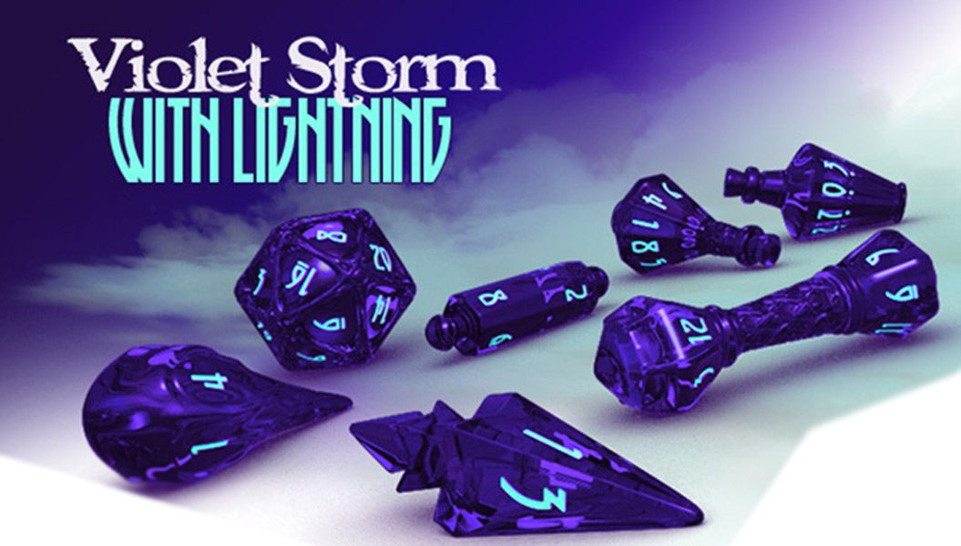 Polyhero Dice: Wizard 7 Dice Set: Wizard Violet/Lightning - Pastime Sports & Games