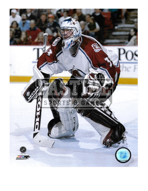 Patrick Roy 8X10 Colorado Avalanche Away Jersey (In Position) - Pastime Sports & Games