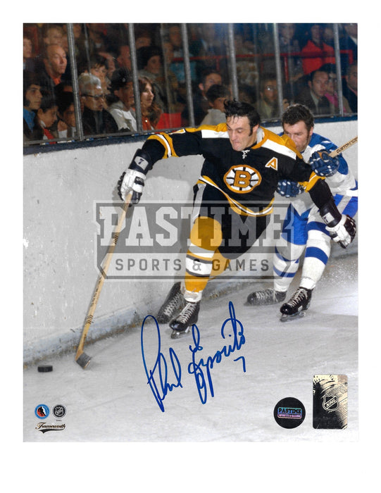 Phil Esposito Autographed 8X10 Boston Bruins Home Jersey (Chasing Puck)