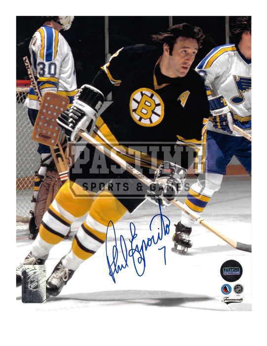 Phil Esposito Autographed 8X10 Boston Bruins Home Jersey (Skating Infront of Blues Players) - Pastime Sports & Games