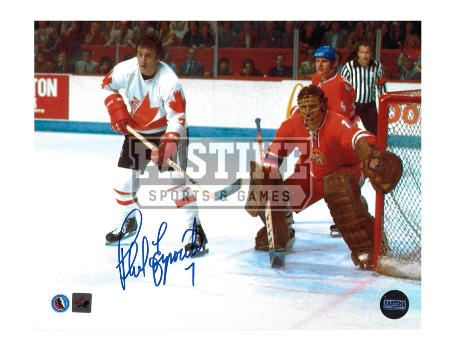 Phil Esposito Autographed 8X10 Team Canada Away Jersey (Infront Of Net) - Pastime Sports & Games