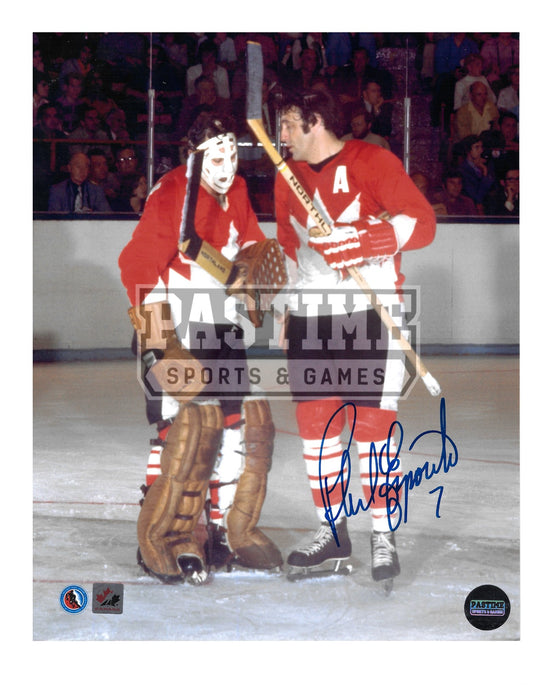 Phil Esposito Autographed 8X10 Team Canada Home Jersey (Talking to Tony) - Pastime Sports & Games