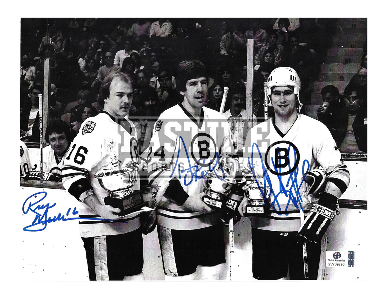 Ray Bourque, Rick Middlton, Terry O'Reilly Autographed 8X10 Boston Bruins Away Jersey (Pose) - Pastime Sports & Games