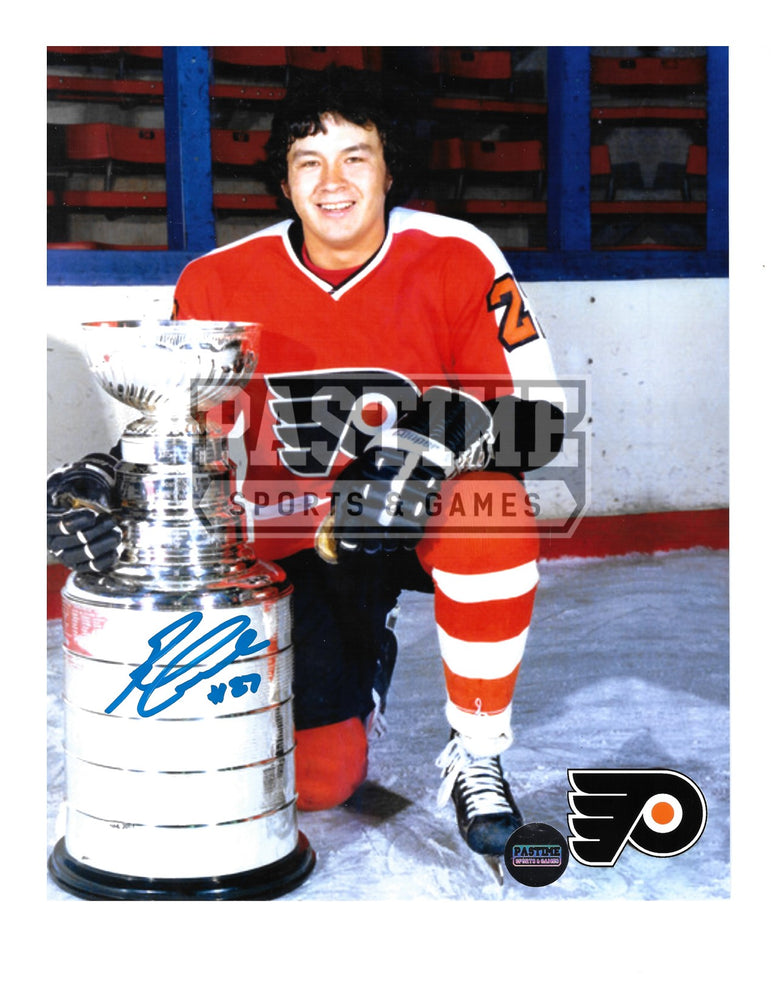 Reggie Leach Autographed 8X10 Philadelphia Flyers Home Jersey (Kneeling Beside Stanley Cup) - Pastime Sports & Games