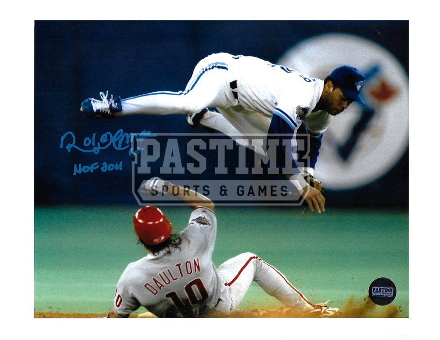 Roberto Almomar Autographed 8X10 Toronto Blue Jays (Flying Through Air) - Pastime Sports & Games