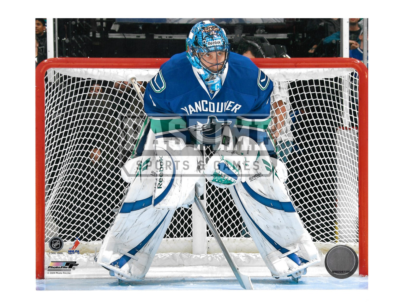 Roberto Luongo 8X10 Vancouver Canucks Home Jersey (In Position) - Pastime Sports & Games