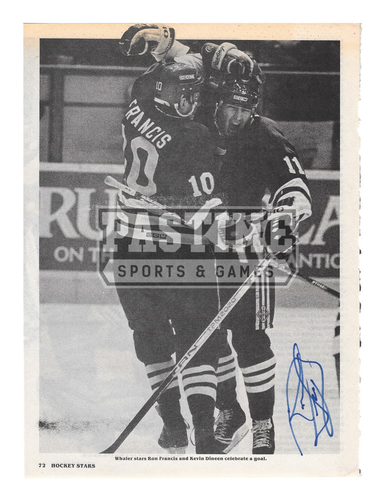 Ron Francis Autographed 8X10 Magazine Page Hartford Whalers Home Jersey (Celebrating Goal) - Pastime Sports & Games