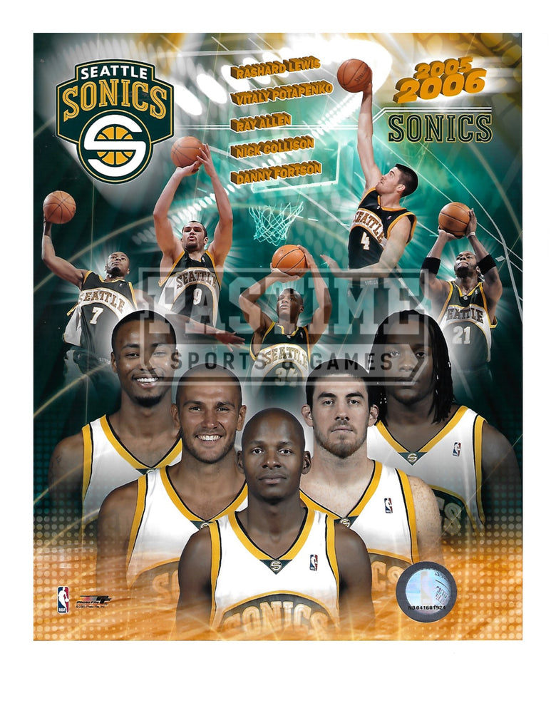 Seattle Sonics 8X10 Photo Montage (2005/06) - Pastime Sports & Games