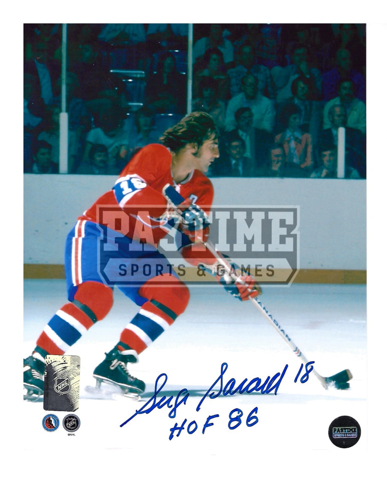 Serge Savard Autographed 8X10 Montreal Canadians Home Jersey (Skating With Puck) - Pastime Sports & Games