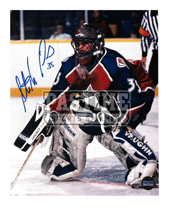 Stephane Fiset Autographed 8X10 Colorado Avalanche Home Jersey (In Position) - Pastime Sports & Games