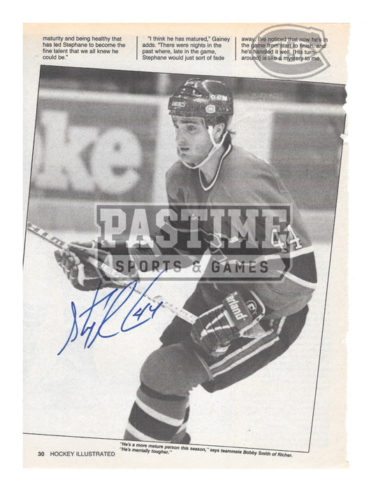 Stephane Richer Autographed 8X10 Newspaper Page Montreal Canadians Home Jersey (Skating) - Pastime Sports & Games