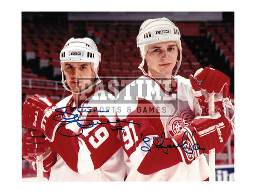 Steve Yzerman & Sergei Fedorov Autographed 8X10 Detroit Redwings Away Jersey (Posing) - Pastime Sports & Games