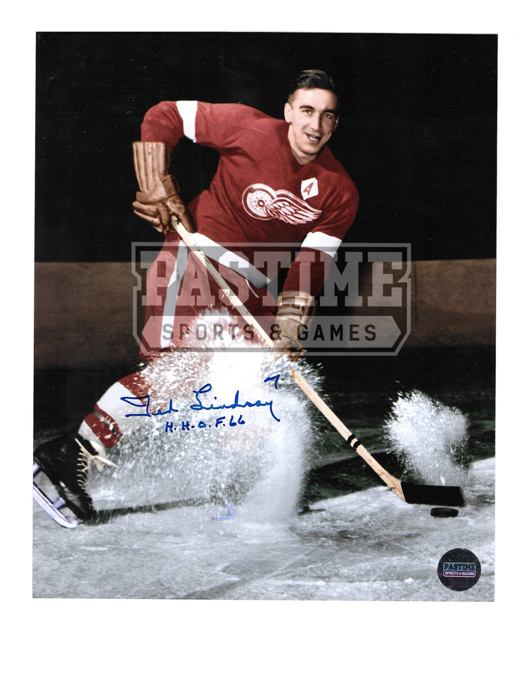 Ted Lindsay Autographed 8X10 Detroit Red Wings Home Jersey (Spraying Ice) - Pastime Sports & Games