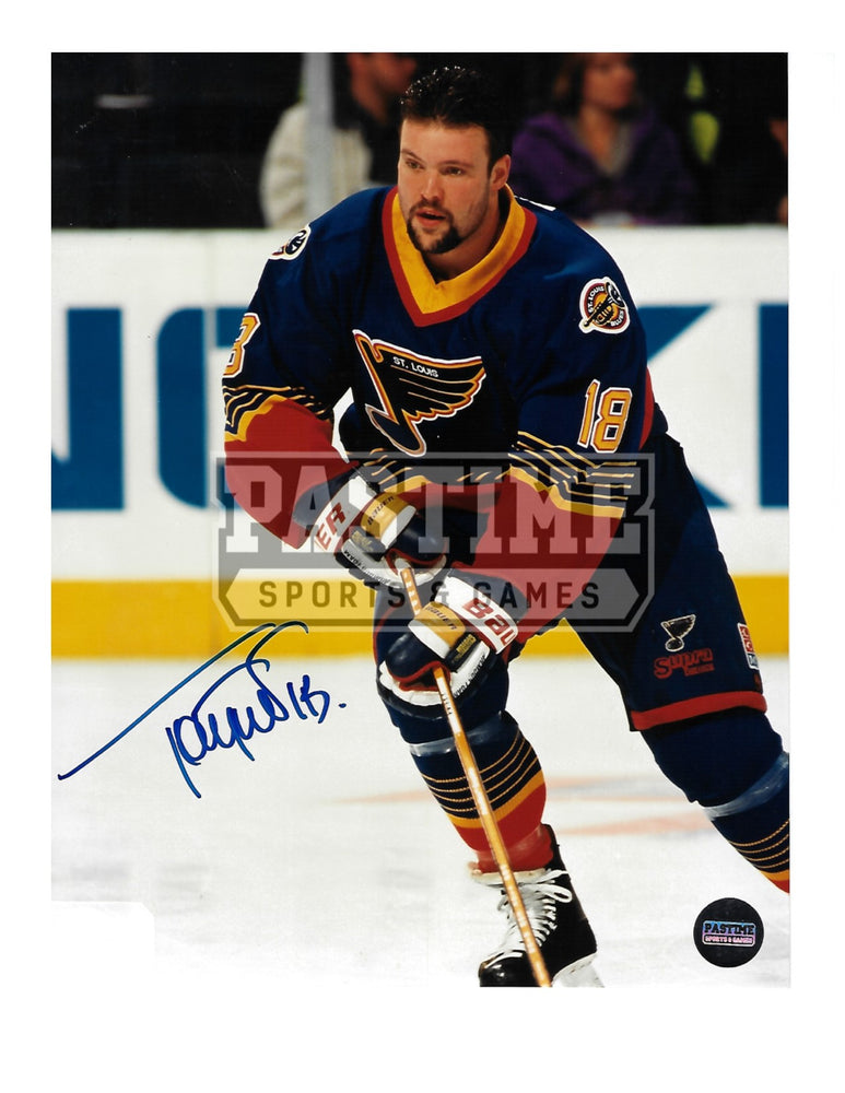 Tony Twist Autographed 8X10 St.Louis Blues Home Jersey (Skating) - Pastime Sports & Games