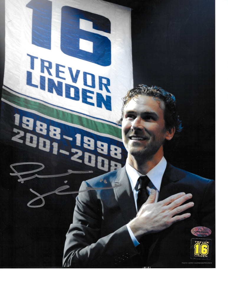 Trevor Linden Autographed 8X10 Vancouver Canucks (Hand Over Heart) - Pastime Sports & Games