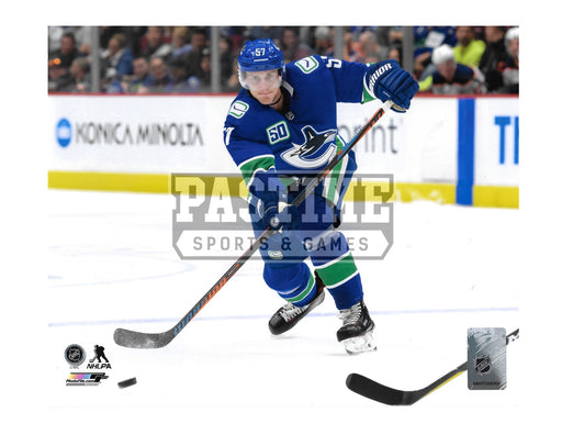 Tyler Myers 8X10 Vancouver Canucks Home Jersey (Skating With Puck)