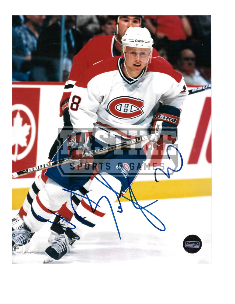 Val Bure Autographed 8X10 Montreal Canadians Away Jersey (Skating Player Behind) - Pastime Sports & Games