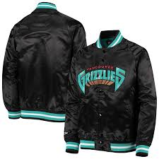 Vancouver Grizzlies Satin Jacket (Black Mitchell & Ness) - Pastime Sports & Games