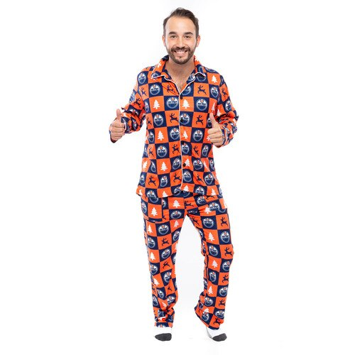 Edmonton Oilers Hockey Button Up PJ (FOCO Orange) - Pastime Sports & Games