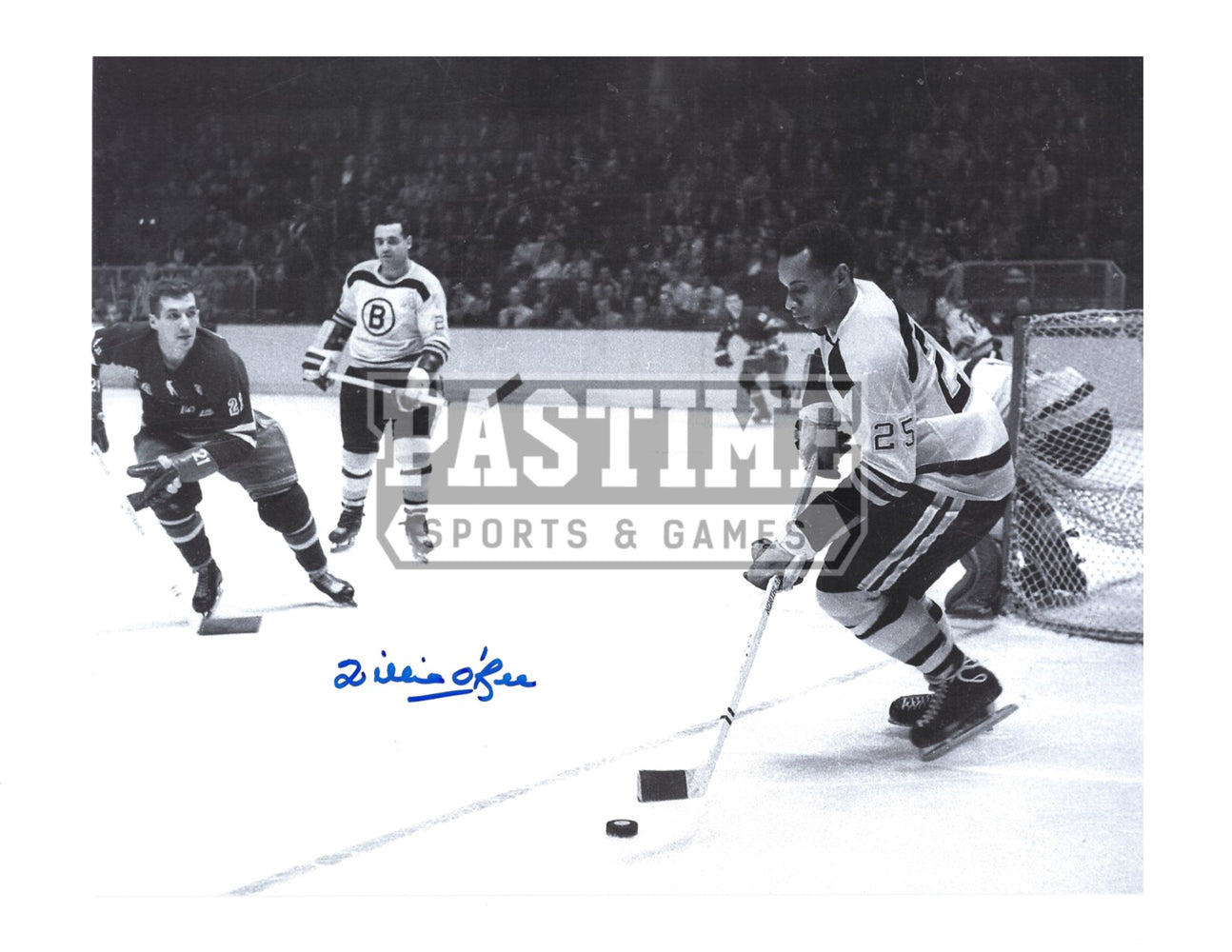 Willie O'Ree Autographed 8X10 Boston Bruins Away Jersey (Skating With Puck) - Pastime Sports & Games