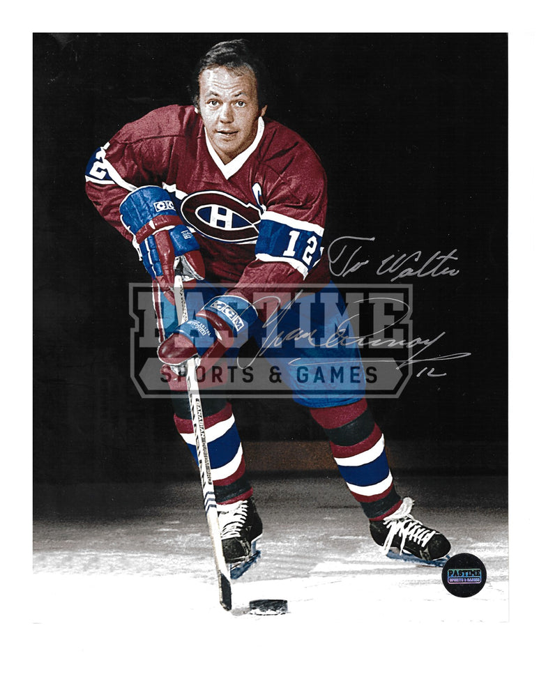 Yvan Cournoyer Autographed 8X10 Montreal Canadians Home Jersey (Skating With Puck) - Pastime Sports & Games
