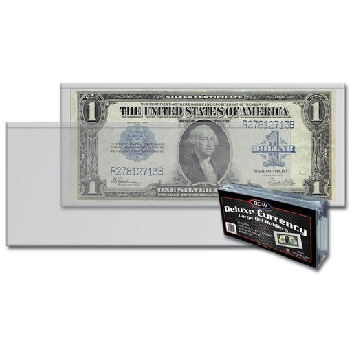 "BCW Semi-Rigid Large Currency 7 7/16"" x 3 1/8"" Holders - Pastime Sports & Games"