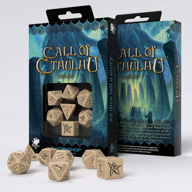 Q-Workshop 7pc RPG Dice Set Cthulhu Beige & Black - Pastime Sports & Games