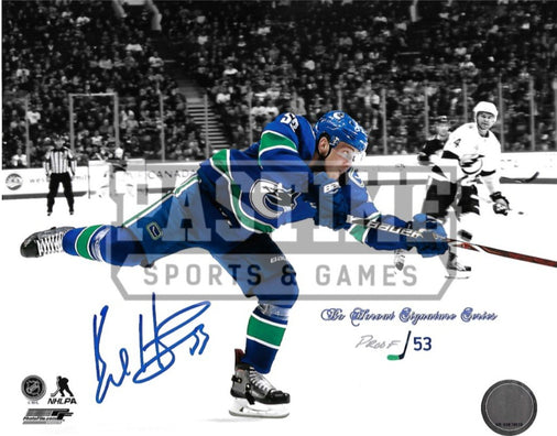 Bo Horvat Autographed 8X10 Vancouver Canucks Home Jersey (Black Background # Out Of 53) - Pastime Sports & Games