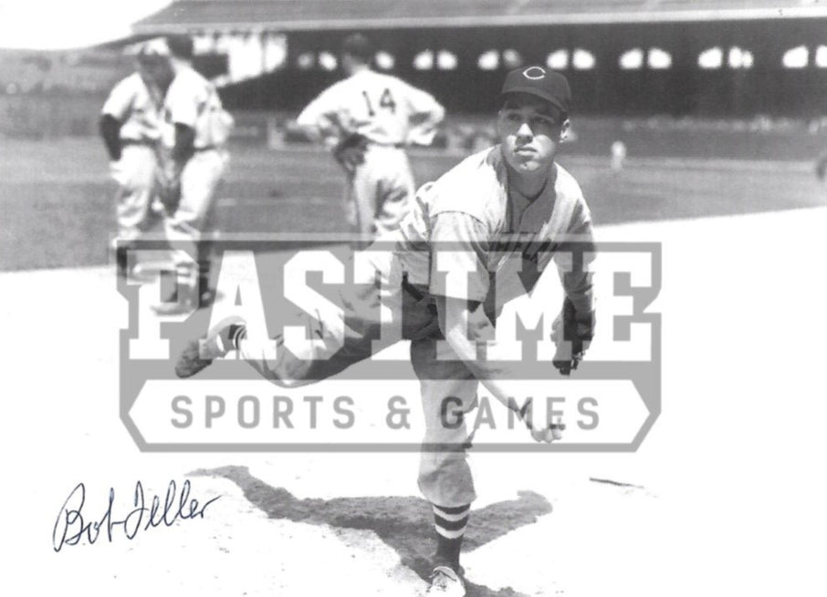 Bob Feller Autographed 8X10 Cleveland Indians (Throwing Ball) - Pastime Sports & Games
