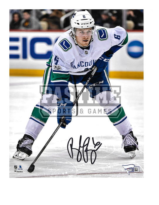 Brock Boeser Autographed 8X10 Vancouver Canucks Away Jersey (Ready Position) - Pastime Sports & Games