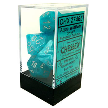 Chessex 7pc RPG Dice Set Cirrus Aqua/Silver CHX27465 - Pastime Sports & Games