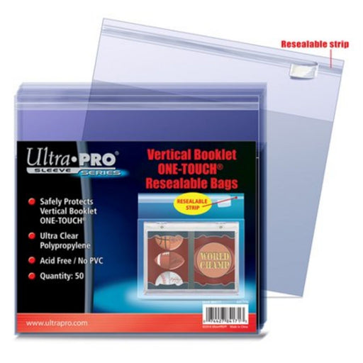 Ultra Pro Sleeve Series Vertical Booklet One-Touch Resealable Bags - Pastime Sports & Games
