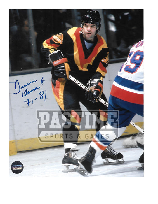Dennis Kearns Autographed 8X10 Vancouver Canucks Home Jersey (In Position)