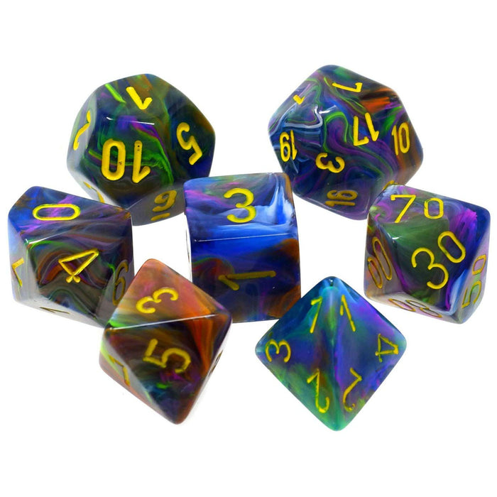 Chessex 7pc RPG Dice Set Festive Rio/Yellow CHX27449 - Pastime Sports & Games