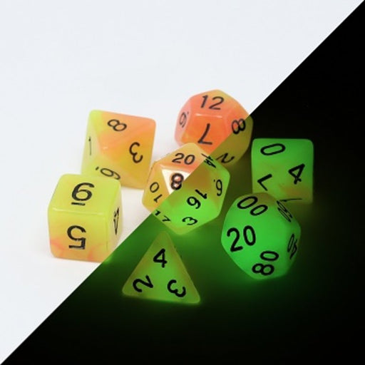 Die Hard Dice 7pc Glow in the Dark RPG Dice Set Alchemist's Fire - Pastime Sports & Games