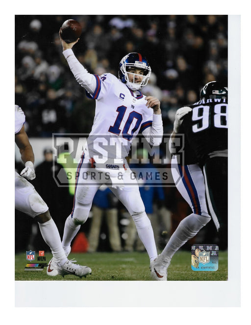 Eli Manning 8X10 New York Giants Away Jersey (Throwing Ball) - Pastime Sports & Games