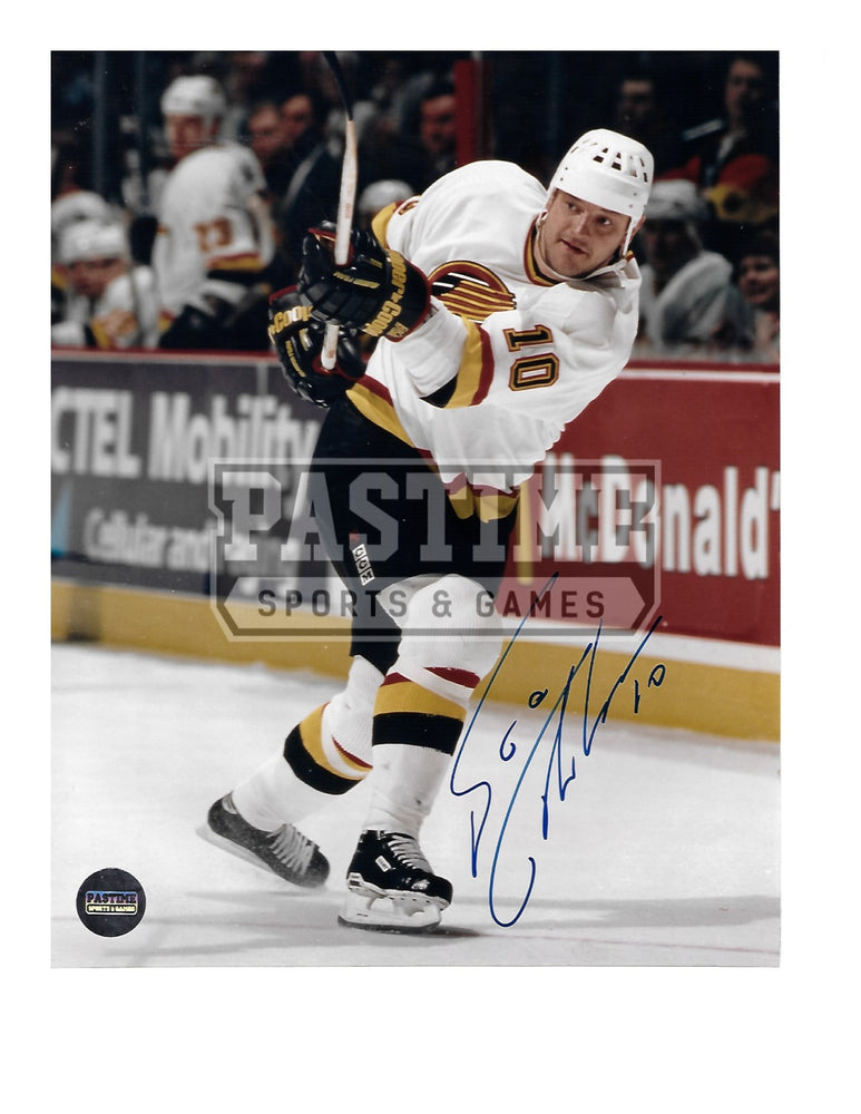 Esa Tikkanen Autographed 8X10 Vancouver Canucks Away 94 Skate Jersey (Shooting) - Pastime Sports & Games