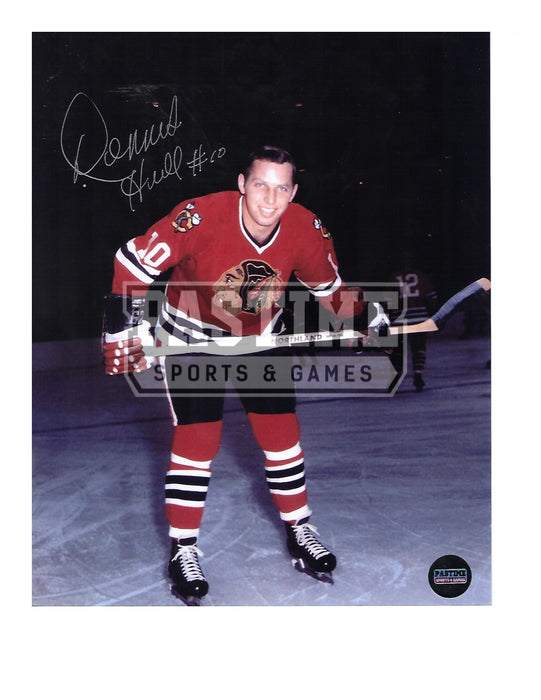 Dennis Hull Autographed 8X10 Chicago Blackhawks Home Jersey (Bending Over With Stick) - Pastime Sports & Games