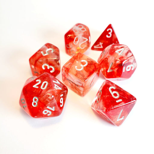 Chessex Lab Dice Nebula Red/Silver Polyhedral 7-Die Set - Pastime Sports & Games