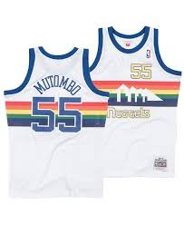 1991/92  Dikembe Mutombo Denver Nuggets Away Basketball Jersey (White Mitchell & Ness) - Pastime Sports & Games