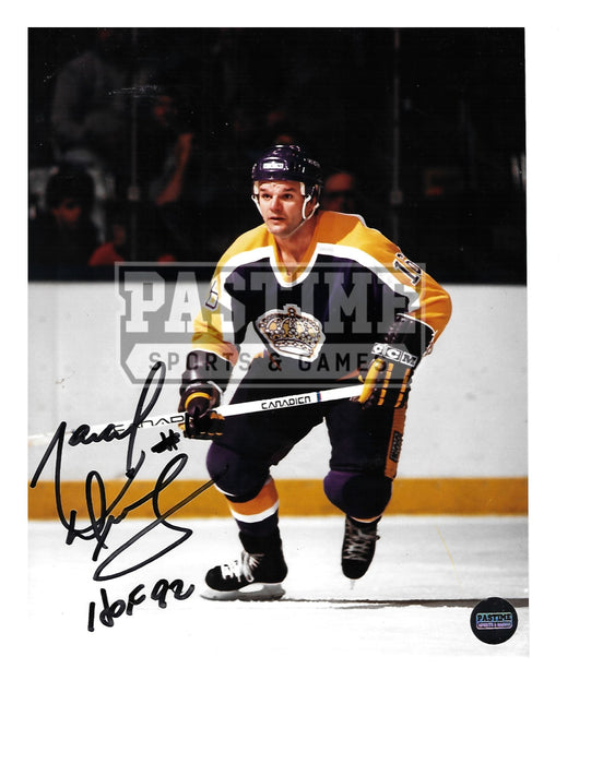 Marcel Dionne Autographed 8X10 L.A Kings Home Jersey (Skating Pose 2) - Pastime Sports & Games