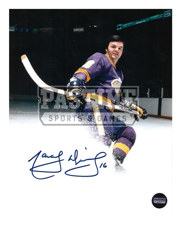 Marcel Dionne Autographed 8X10 L.A Kings Home Jersey (Spraying Ice) - Pastime Sports & Games