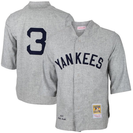 1928/29 New York Yankees Babe Ruth On Field Quality Home Buttonup Baseball Jersey (M&N Grey) - Pastime Sports & Games